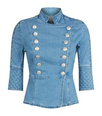 Balmain Pierre Military Denim Jacket Female Blue