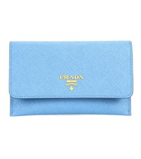 Prada Saffiano Leather Wallet Blue