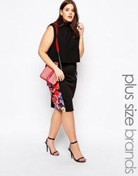Club L Plus Size Pencil Skirt With Floral Print Panels Black