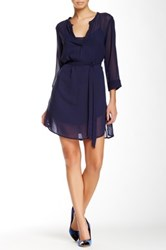 Glam The Chiffon Placket Tie Dress Blue