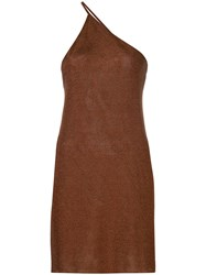 Kacey Devlin One Shoulder Metallic Mini Dress Brown