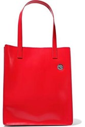 Kara Woman Multi Pinch Glossed Leather Tote Red