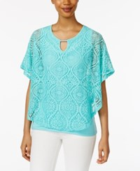 Jm Collection Lace Keyhole Poncho Only At Macy's Pacific Aqua
