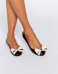 Ted Baker Julivia Bow Black Ballet Flat Shoes Black Cream Pvc