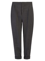 Isabel Marant Neyo High Rise Cropped Trousers Dark Grey