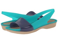 Crocs Color Block Translucent Slingback Flat Tropical Teal Nautical Navy Women's Sling Back Shoes Green