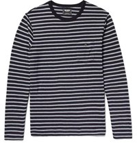 Todd Snyder Striped Cotton Jersey T Shirt Gray