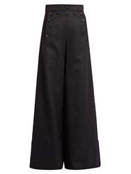 Chloe Sailor High Rise Wide Leg Wool Blend Trousers Navy