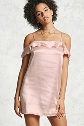 Forever 21 Satin Ruffle Slip Dress Blush