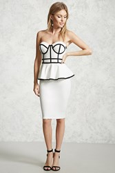 Forever 21 Sweetheart Peplum Dress White Black