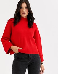 Mango Volume Sleeve Ribbed Sweater In Red