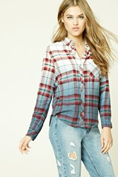 Forever 21 Ombre Plaid Flannel Shirt Cream Rust