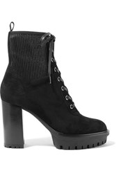 Gianvito Rossi 100 Lace Up Ribbed Leather Paneled Suede Ankle Boots Black