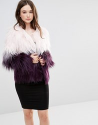 Barney's Originals Ombre Faux Fur Coat Blush Berry Pink