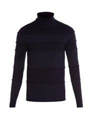 Maison Martin Margiela Roll Neck Contrasting Panel Sweater Navy