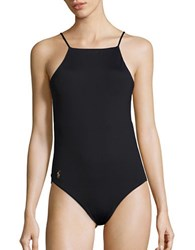 Polo Ralph Lauren Open Back One Piece Swimsuit Black