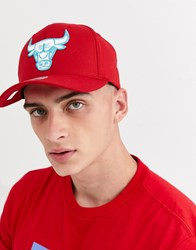 Mitchell And Ness Chicago Bulls 110 Snapback Cap In Red Teal