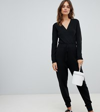 Micha Lounge Jumpsuit With Wrap Front Black