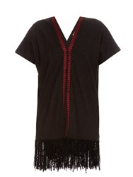 Masscob Fringed Hem Silk Noil Dress Black