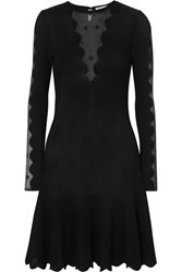 Alexander Mcqueen Lace Paneled Ribbed Knit Dress Black