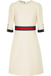 Gucci Grosgrain Trimmed Wool And Silk Blend Mini Dress Cream