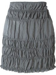Romeo Gigli Vintage Ruched Mini Skirt Grey