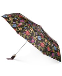 Totes Signature Auto Open Compact Umbrella With Neverwet Embroidered Floral