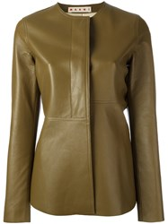 Marni Frill Leather Jacket Green