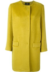 Etro Collarless Buttoned Coat Yellow And Orange