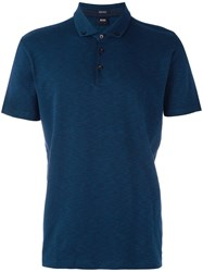 Hugo Boss Button Down Polo Shirt Blue