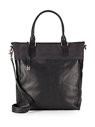 John Varvatos Suede Trimmed Leather Convertible Tote Black