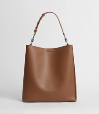 Allsaints Captain Leather North South Tote Bag Chocolate Brown