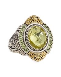 Konstantino Lemon Topaz And Peridot Floral Etched Ring Size 7