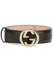 Gucci Gg Supreme Belt With G Buckle Black