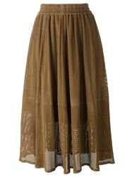 Muubaa Layered Laser Cut Skirt Brown