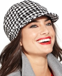 Charter Club Chenille Houndstooth Newsboy Hat Black White