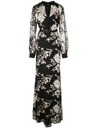 Badgley Mischka Floral Maxi Dress Black