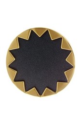 House Of Harlow Starburst Genuine Leather Cocktail Ring Size 6 Metallic