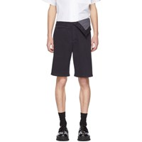 Y Project Navy Asymmetric Shorts