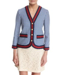 Gucci Wool Jacket With Web Blue White