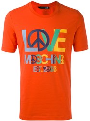 Love Moschino Logo Print T Shirt Men Cotton Spandex Elastane L Red