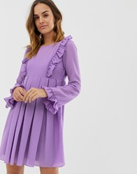 Naf Naf Romantic Layered Dress With Long Sleeves Purple