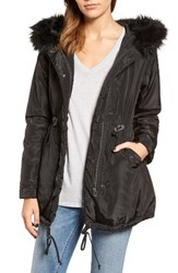 Velvet By Graham And Spencer Women's Hooded Jacket With Removable Faux Fur Trim
