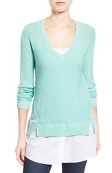 Women's Two By Vince Camuto Poplin Inset V Neck Sweater Ocean Wave