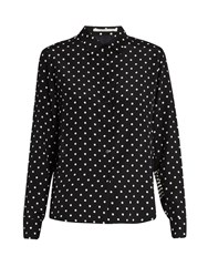 Stella Mccartney Wilson Contrasting Print Silk Shirt Black White