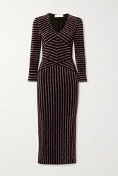 Fleur Du Mal Striped Metallic Stretch Knit Midi Dress Black