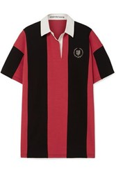 Alexander Wang Oversized Embellished Striped Cotton Jersey Polo Shirt Red