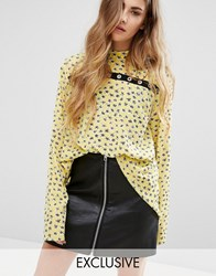 Reclaimed Vintage High Neck Top With Eyelet Detail Yellow