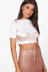 Boohoo Poppy Satin Lace Up Corset Taupe
