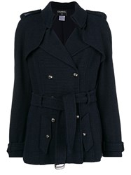 Chanel Vintage Double Breasted Belted Coat Blue